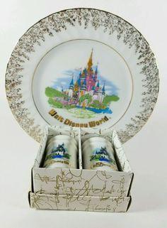 Vintage Walt Disney Porcelain Plate & Salt/Pepper Shakers Made in Japan