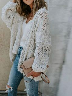 8fa82366e966 Chellysun Oversize Chunky Knit Cardigan - White   S Oversized Cardigan  Outfit