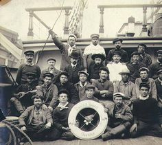 Crew on the deck of the French ship DAVID D'ANGERS, Puget Sound port, Washington, ca. 1904. :: Wilhelm Hester Photographs