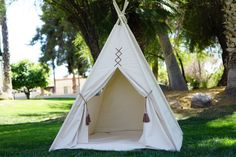 Original large Teepee tent extra high/ canvas kids Play tent / Tipi Wigwam or Playhouse with poles and Door Ties