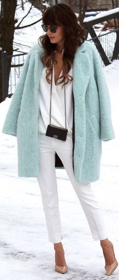 - Baby Blue - #Mint Fluffy Coat #Winter #White wrapped Shirt #White Skinny Panst #Blush Leather Pumps
