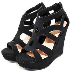 Women Gladiator High Wedge Platform Sandal Shoes (7, Black)
