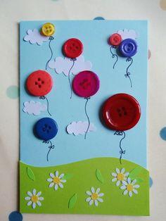 diy birthday cards for kids Geburts - Button Crafts For Kids, Spring Crafts For Kids, Diy And Crafts, Bug Crafts, Crafts With Buttons, Rock Crafts, Garden Crafts, Handmade Birthday Cards, Diy Birthday