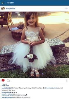 flowergirl dress 'Portia' tea length poufy ivory