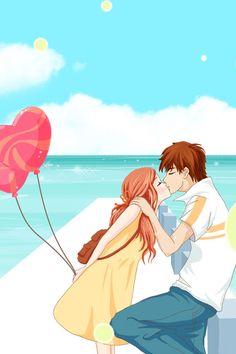 Anime Couple Kiss on the beach
