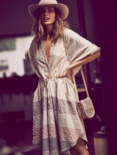 White #striped #v-neck summer #dress, hat. women fashion @roressclothes closet ideas