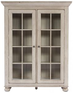 "Broyhill Attic Stone Gray Rustic Oak Library Cabinet-(3392-12) :: $ 919 | eshoppes.com :: [54""W x 17""D x 69""H; 250 lbs.; 51.1 cu. ft.] A traditional desigh of Oak solids & hardwoods in a unique Stone Grey finish. Unique qualities of the wood, such as dents, scratches & knots are not product defects, but rather intentionally left to give the piece character. 2 glass doors, 3 fixed wood shelves & plate grooves. A distinctive Old World 'vintage chic' look. 