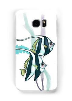 """""""Reef bannerfish, striped fish, underwate, digital art"""" Samsung Galaxy Cases & Skins by clipsocallipso 