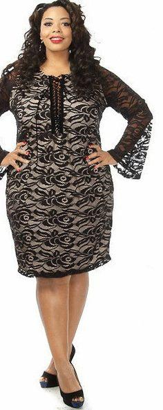 Plus Size Fashion - Bell Sleeve Lace Mini Dress