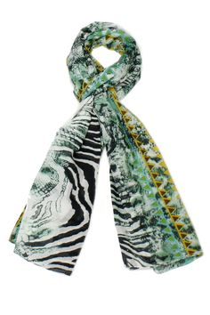 Green scarf with an animal print.   Size: 40'' x 70''  Animal Print Scarf by Violet Del Mar. Accessories - Scarves & Wraps San Diego, California