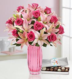 Pink Rose & Lily Bouquet for Mother's Day Easter Flowers, Mothers Day Flowers, Summer Flowers, Summer Flower Arrangements, Beautiful Flower Arrangements, Floral Arrangements, Rose And Lily Bouquet, Rose Lily, Pink Bouquet