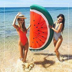 Soooo erfrischend im Sommer - 72 Zoll 180cm große Wassermelone Pool Floats Schwimmt Schwimmdock Boot mit Pumpe aufblasbares Floating Bett Wasserspielzeug Luftmatratze für Erwachsene
