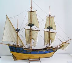 A model of Champlain's ship, the 'DON DE DIEU'.  In 1608, Champlain returned to Canada to establish a fur trading post. He chose a site along the St. Lawrence River and named it Quebec. It became the first permanent settlement in New France.