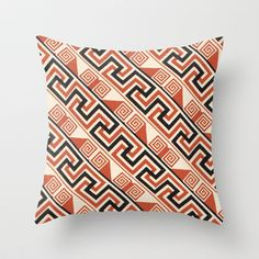Vintage Tribal Pattern in Bold Orange, Black and Tan Throw Pillow by Iconographique - $20.00