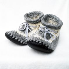 FUNKY CROCHETED SLIPPERS with Leather Soles by by MuffleUpSlippers, $100.00