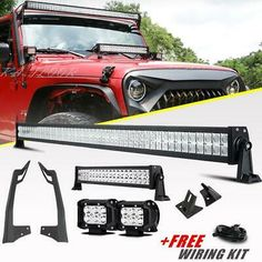FOR 84-01 Cherokee XJ Roof Windshield 50/'/' Curved LED Light Bar+2X 4/'/' Pods