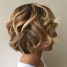 Curly+Layered+Brown+Blonde+Bob