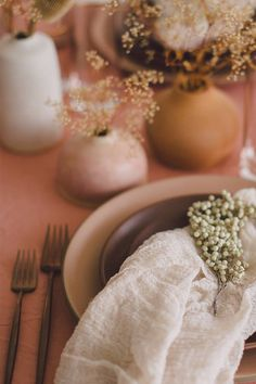 Simple Texture Napkin + Tablescape Little vases with sprigs (simple table decor) Table Centerpieces For Party, Wedding Decorations On A Budget, Decoration Table, Dining Decor, Terracota, Lilac Wedding, Wedding Colors, Sage Wedding, Green Wedding Shoes