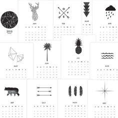 2015 Wall Calendar Printable Calendar 2015 by MelindaWoodDesigns