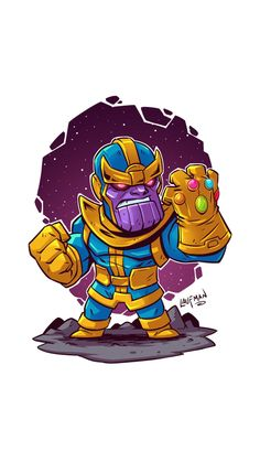 Marvel Thanos Cute Art iPhone Wallpaper - iPhone Wallpapers