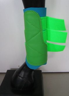 Horse Exercise & Jumping Boots Classic Sky blue & Lime green AUSTRALIAN MADE