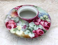 Antique Hand Painted Porcelain Squat Rose Vase    c. 19th Century