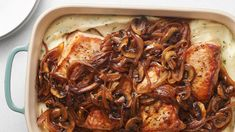 Smothered Pork Chop Casserole - It starts with a creamy mashed potato base that gets topped with tender, seasoned pork chops and finished with a hearty helping of savory caramelized onions and mushrooms. Pork Recipes, New Recipes, Dinner Recipes, Cooking Recipes, Favorite Recipes, Dinner Ideas, Pan Cooking, Potato Recipes, Meal Ideas
