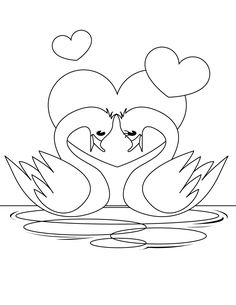 cute swan in love coloring page for kidz - Coloring Point Vintage Embroidery, Embroidery Patterns, Hand Embroidery, Embroidery Sampler, Love Coloring Pages, Coloring Books, Bird Drawings, Easy Drawings, Valentines Day Coloring Page