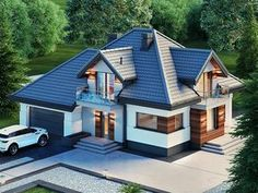 ZdjÄ™cie projektu Alicja N Dream House Exterior, Dream House Plans, Modern Architecture House, Modern House Design, Home Building Design, Building A House, Bungalow Style House, Casas Country, Haus Am Hang
