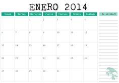 Free printable, monthly planner - Calendario mensual 2014