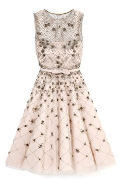 VALENTINO Tulle Illusione Dress w/ Silver Beading 2013
