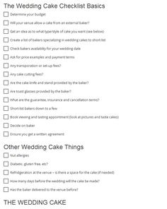 Wedding Cake Checklist There's more to this checklist! Click the link to see everything you need to consider when choosing the perfect cake for your wedding! #wedding #cake