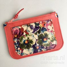 Red leather zipper pouch with flowers. Leather color block clutch. Luxury gift women