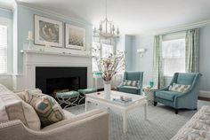 the pillows are great! i like lots of solid colors with just a pop of pattern. and the blues! #livingroomideas