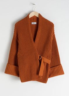 Belted Cardigan - Rust - Cardigans - & Other Stories Rust Cardigan, Belted Cardigan, Cotton Cardigan, Vetement Fashion, Knit Fashion, Emo Fashion, Fashion Story, Cardigans For Women, Fall Outfits