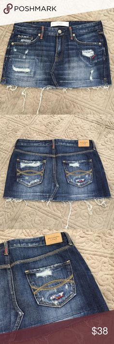 "Abercrombie Factory Distressed Skirt Skirt: Excellent Used Condition - Abercrombie / W: 15"" Abercrombie & Fitch Skirts"