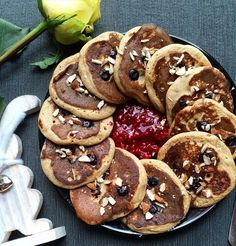 Whole wheat rye flour pancakes with blueberries
