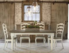 Farmhouse Table crafted from timber harvested in the Appalachian Region. Uniquely bench-made by our own Artisans in Bassett,Virginia. By Bassett Furniture I love the farmhouse style table in a darker stain with a bench and a mix of two types of chairs.