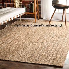 Rug Indian Braided Floor Rug Handmade Jute Rug, Natural Jute Rectangle Rug Indian Handmade Handwoven Ribbed Solid Area Rugs, Beautiful Rugs #BestWoodFlooring Area Rug Sizes, Area Rugs, Braided Rag Rugs, Solid Rugs, Jute Rug, Floor Decor, Natural Rug, Rugs On Carpet, Fur Carpet