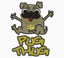 Cute Funny Pug Thug Dog Lovers Design by doonidesigns
