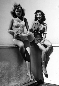 """Actresses Diana Lynn and Gail Russell have a windy upskirt or """"Marilyn moment."""" Photograph by Peter Stackpole. Old Hollywood Glamour, Vintage Hollywood, Classic Hollywood, Windy Skirts, Blowin' In The Wind, Gal Pal, Stay Young, Just Girl Things, Bathing Beauties"""