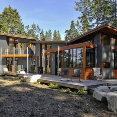 Cool Modern Wooden House Design in Lopez Island with Asian Style Houses Architecture, Residential Architecture, Amazing Architecture, Modern Architecture, Seattle Architecture, Architecture Student, Modern Wooden House, Wooden House Design, Rustic Modern