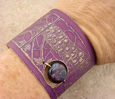 Etched Brass Bracelet Cuff Peacocks Everywhere 2 by MetalMeThis