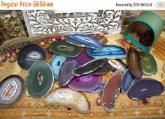10% Sale Gemshow 5 Agate Slices Top Drilled - Mixed Colors - LIQUIDATION Sale - Tiny Cracks on some - Jewelry Supplies - (RK133B10)