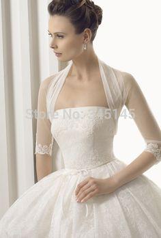 2015 HOT SALE Long 3/4 Sleeve Lace Bridal Bolero Jacket FREE Shipping Elegant Cheap