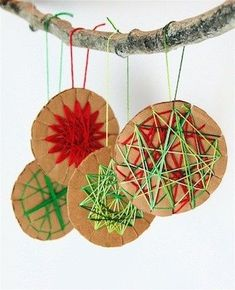 Christmas Party Ideas: Yarn star ornaments. This looks like a really easy and cheap Christmas craft