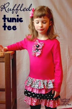 Jurk Sophie Scattered Thoughts of a Crafty Mom: Ruffled Tunic Tee Tutorial - upcycled t-shirt dress Sewing Kids Clothes, Sewing For Kids, Baby Sewing, Diy Clothes, Kids Clothing, Clothes Refashion, Free Sewing, Little Girl Outfits, Kids Outfits