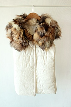 Momo  and gorgeous genuine Fox Fur collar winter nappa-like texture of cotton cultivate cotton vest waistcoat