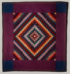 Sunshine and shadow quilt, ca. 1940  Amish, Lancaster County, Pennsylvania  Wool and cotton