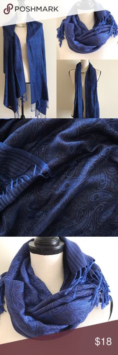 """bogo Pashmina scarf wrap Elegant pashmina black and blue print scarf wrapBrand new wot boutique item  About 70"""" long lovely elegant piece.   BUNDLE & SAVE 15% ✨TOP RATED SELLER✨ SAME DAY OR NEXT DAY SHIPPING! ❤REASONABLE OFFERS WELCOME❤ ❌NO TRADES OR PAYPAL❌ Accessories Scarves & Wraps"""
